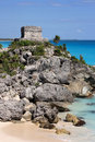 Tulum ruins overlooking the Caribbean Stock Images