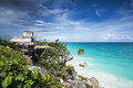 Tulum ruins and sea amazing view of the mayan of with the wonderful carribean right under Stock Photo