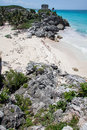 Tulum Ruins Temple and Beach Yucatan Mexico Royalty Free Stock Images