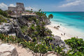 Tulum ruins temple yucatan mexico the of a stone the turquoise waters of the mexican gulf and the white sand of the beach in the Stock Photo