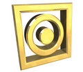 Tumble dry symbol in gold isolated - 3D Stock Photography