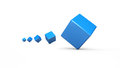 Tumbling blue 3D cubes isolated Royalty Free Stock Photo