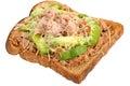 Tuna and avocado melt on toast a white isolated background Royalty Free Stock Image