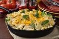 Tuna casserole a in a cast iron skillet Stock Photo