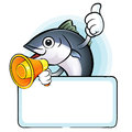 The tuna chef mascot holding a big board scombridae character d design series Royalty Free Stock Images