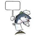 Tuna chef mascot the right hand guides and the left hand is hold holding a picket scombridae character design series Stock Images