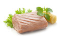 Tuna fillet piece of with fresh green lettuce basil and mini corn Stock Image