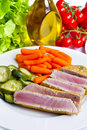 Tuna fillet with vegetables a Stock Photos