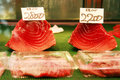 Tuna fillets for sale in Tsukiji fish market Royalty Free Stock Photo