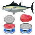 Tuna fish can steak mockup set, realistic style