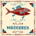 Tuna fish matchbox label Stock Photography