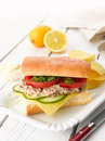 Tuna fish salad sandwich with caper cucumber cheese lettuce and tomato on white wooden table shallow focus Royalty Free Stock Photo
