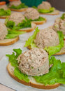 Tuna fish sandwiches with ball slabs on lettuce for school lunch Stock Image