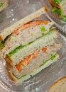 Tuna fish sandwiches healthy with tomatoes and lettuce for school lunch Stock Photo