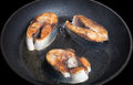 Tuna fish with spices fried on black pan