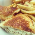Tuna melt yummy with fries from newest diner in schenectady new york Stock Photo