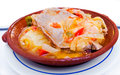 Tuna with onions stew tavira style algarve portugal typical dish bifes de atum cebolada a Stock Photos