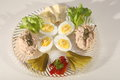 Tuna pate and boiled eggs with brie Royalty Free Stock Image