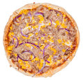 Tuna Pizza (over white) Royalty Free Stock Photo