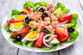 Tuna salad with anchovies, eggs, black olives, tomatoes, oil, basil, garlic, vinegar Royalty Free Stock Photo
