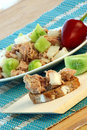 Tuna salad with organic green tomato Royalty Free Stock Image