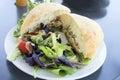 Tuna Salad Sandwich with Ciabatta Bread and Salad Closeup Royalty Free Stock Photo