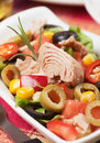 Tuna salad with vegetables Stock Photo