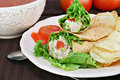 Tuna salad wraps, chips and tomato soup. Royalty Free Stock Image