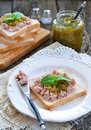 Tuna sandwich with cucumber sweet relish dinner Royalty Free Stock Photos