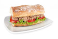 Tuna sandwich fresh with lettuce and tomato Stock Image
