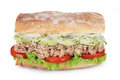 Tuna sandwich fresh with vegetables on white background Royalty Free Stock Images