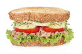 Tuna sandwich fresh with vegetables on white background Stock Photo