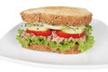 Tuna sandwich fresh with vegetables on white dish Stock Photography