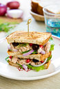 Tuna sandwich olive pomegranate Royalty Free Stock Image