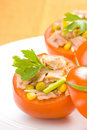 Tuna stuffed tomato celery corn soya bean Royalty Free Stock Photo