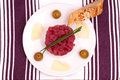 Tuna tartar with chives Royalty Free Stock Images