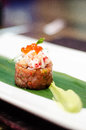 Tuna tartar fine dinning with crab meat and avocado puree Royalty Free Stock Photos