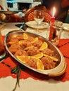 Tuna tartare in the orange juice, italian traditional dish for Chrismast, Italian food Royalty Free Stock Photo
