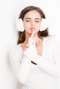 Tune in gorgeous young brunette enjoying music white headphones Royalty Free Stock Images