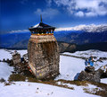 Tungnath is the lord shiva temple of in himalaya located just below peak of chandrashila on a mountain ridge in Royalty Free Stock Photos