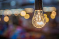 Tungsten lamp with a bokeh background design Royalty Free Stock Image
