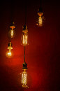 Tungsten lamps old style incandescent bulbs made with Royalty Free Stock Photography