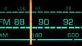 Tuning into mhz fm on an old s radio receiver Stock Photo