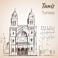 Tunis Cathedral sketch.