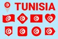 Tunisia flag vector set. Tunisian natioanl symbols collection. Geometric shapes. Flat style. sports, national, travel, geographic Royalty Free Stock Photo