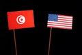 Tunisian flag with USA flag  on black Royalty Free Stock Photo