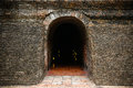 Tunnel background and business concept tunnel with old brick the end of tunnel and concept business successfully mystery tunnel or Royalty Free Stock Image