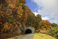 Tunnel on the blue ridge parkway in the fall Royalty Free Stock Photography