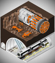 Tunnel boring machine at the construction. Royalty Free Stock Photo
