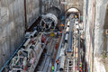 Tunnel boring machines at construction site of metro thessaloniki greece march in thessaloniki going back to work after four years Royalty Free Stock Photo